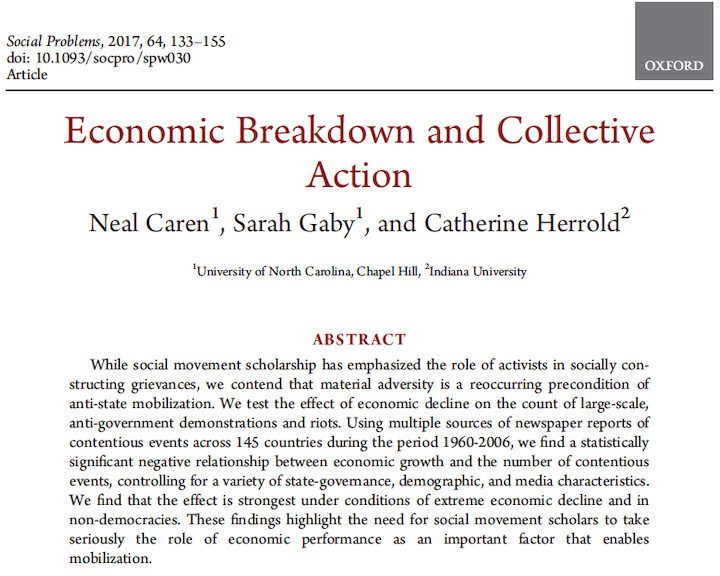 Economic  Breakdown and Collective Action