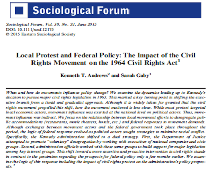 Local Protest and Federal Policy